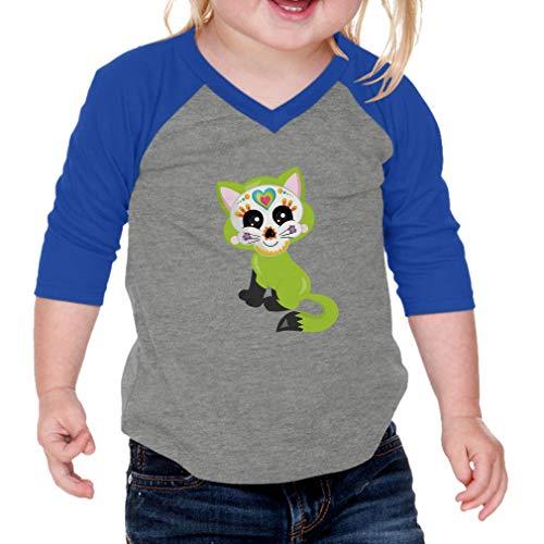 Green Cat Sugar Skull Cotton/Polyester 3/4 Sleeve V-Neck Boys-Girls Infant Raglan T-Shirt Baseball Jersey - Gray Royal Blue, 24 Months