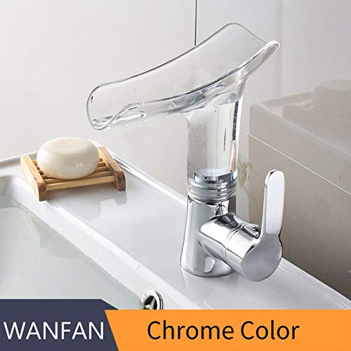 Chrome U-Enjoy Chandelier Faucets Waterfall Basin Faucet Bathroom Top Quality Basin for Mixer Tap Single Sink Mixer Tap Handle Deck Mounted Bathroom Torneiras Free Shipping [Chrome and bluee]