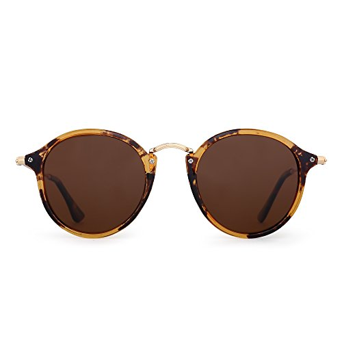Retro Polarized Round Sunglasses Small Mirror Tinted Circle Lens Men Women (Tortoise / Polarized - Round Sunglass