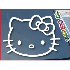 Hello Kitty Car (Window Vinyl Decal Sticker wide 4 of Hello Kitty car