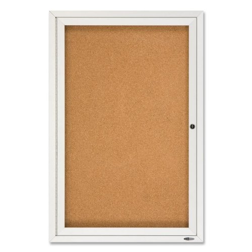 "Quartet Enclosed Cork Outdoor Bulletin Board - 36"" Height x 24"" Width"
