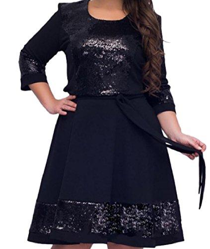 Coolred-femmes Bretelles Couleur Pure Robes Patchwork Sequin Chic Mode Taille Plus Le Soir Bleu Foncé