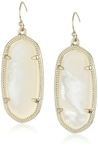 Kendra Scott Signature Elle Earrings in Gold Plated and Ivory Mother-of-Pearl