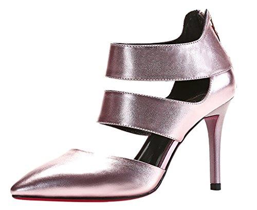 Calaier Femmes Caactivity Open-toe 9cm Stiletto Fermeture À Glissière Sandales Chaussures Rose