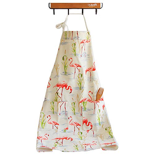 Aprons Women with Pocket Animal Prints Red Flamingos Full Kitchen Cooking Cambric Vintage Retro Cross-Ring Strap for Baking Gardening Great Gift for Wife Ladies Mother