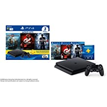 PlayStation 4 Slim (1TB) PS4 Hits Console Bundle includes God Of War, GT Sport, Uncharted 4