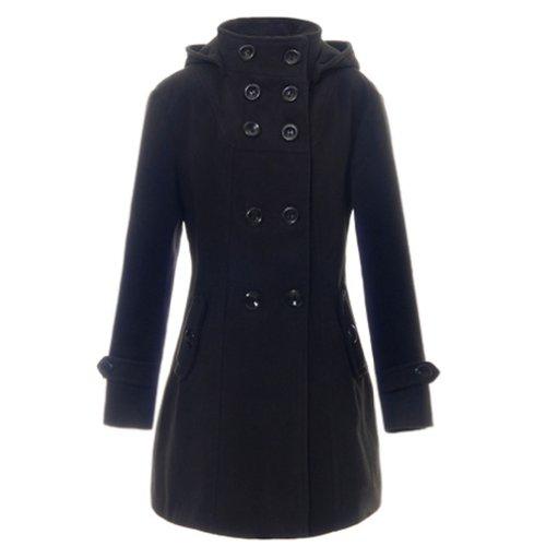 noir à d'hiver capuche laine pour mélangée manches Trench Simplicity à en longues femme RHpxq7q