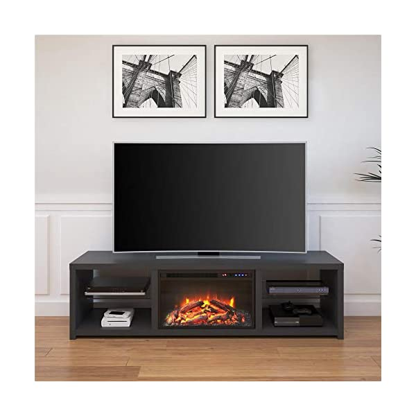 """Ameriwood Home Harrison TV Stand with Fireplace for TVs up to 70"""", Black"""