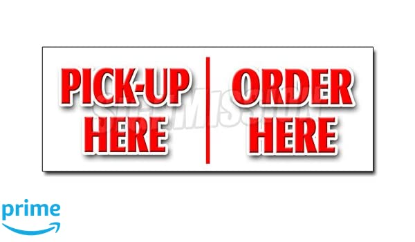 """24/"""" ORDER HERE PICK-UP HERE DECAL sticker hamburger pizza french fry ice cream"""