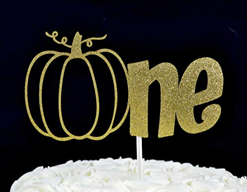 Pumpkin One Gold Glitter Paper Fall First Birthday Cake Topper]()