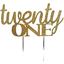 Handmade 21st Twenty-First Birthday Cake Topper Decoration- twenty one - Made in USA with Double Sided Gold Glitter Stock