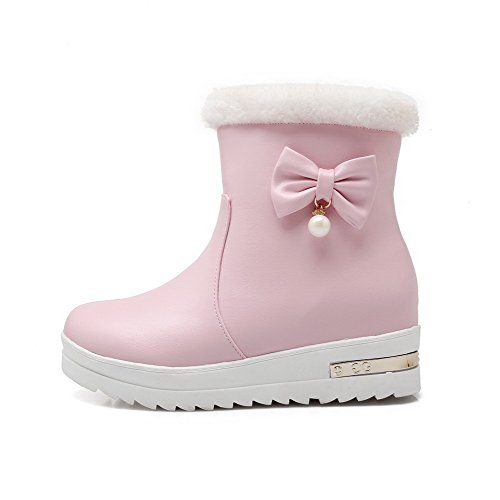 Heels Toe Charms Low on Round Material with Allhqfashion Soft Pull Closed Boots Solid Women's Pink x1YqEOEwT
