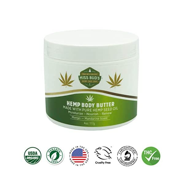 Miss Bud's Hemp Body Butter Moisturize & Nourish Skin Made from Pure Hemp Seed Oil