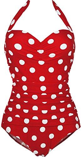 a879048ea457 Bettydom Damen Vintage Dot Badeanzug Punkte Bademode Schwimmanzug Monokini  Bikini M-3XL (XXXXL(EUR 44-46), Rot)  Amazon.de  Bekleidung