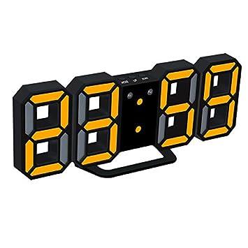HIGGER LED Despertador Digital Actualización de la Versión 8888 Reloj de Pared Puede Ajustar el Brillo del LED Automáticamente: Amazon.es: Hogar