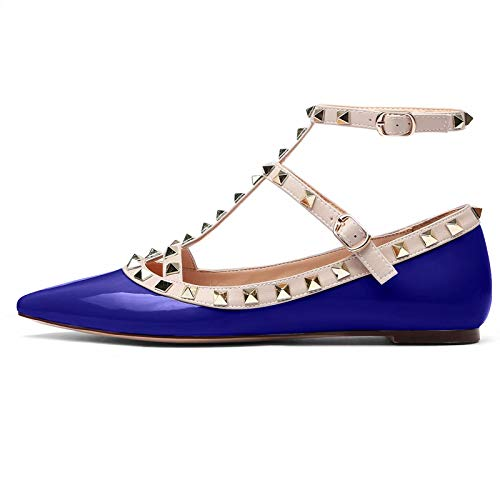 Womens Studded Flats Shoes Pointed Toe T-Strap Buckle Shoes Strappy Slingback Leather Pumps Navy Blue Size 8