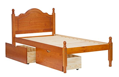 Palace Wood Reston Headboard Platform Size, Honey 12 Included. Optional Trundle, Rail Guard Sold Separately.
