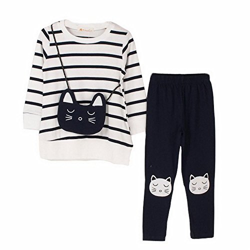 M RACLE Little Girls' Cat Long Sleeve Clothes Set(White,Tag 140)