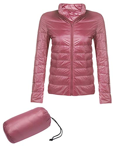 Beyove Womens Winter Packable Lightweight Down Jacket Waterproof Puffer Coat Parka Misty Rose S