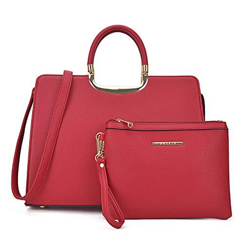 MMK collection Fashion Bamboo handle Handbag for Women with Free Key Chain(2575~Signature fashion Designer Purse~ Beautiful Designer Purse & Women Satchel Purse (XL-19-2828-RD)