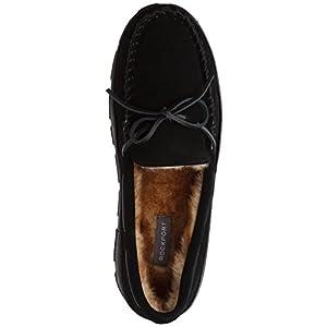 Rockport Memory Foam Plush Lining Suede Slip On Moccasin Indoor/Outdoor Men's Slippers (Size 11 Slipper, Black Moccasin)