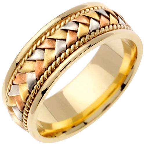 18K Tri Color Gold Braided Basket Weave Men's Comfort Fit Wedding Band (8.5mm) Size-15c1