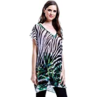 Blusa 101 Resort Wear Tunica Decote V Crepe Fenda Lateral Estampada Zebra Folhas