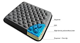FOMI Heavy Duty Seat Cushion for Wheelchair, Office, Car. Foam + Cool Gel Coccyx support for Lower Back Pain Relief.