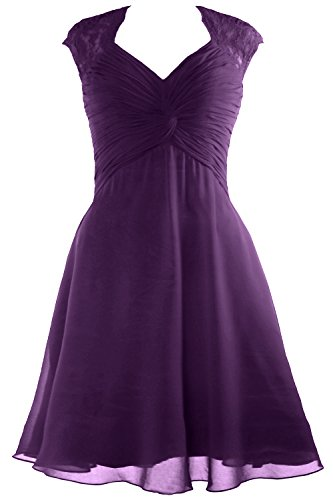 2017 Short Dress Women Eggplant Sleeve MACloth Dress Lace Bridesmaid Cocktail Chiffon Cap Tq0YTZwx8
