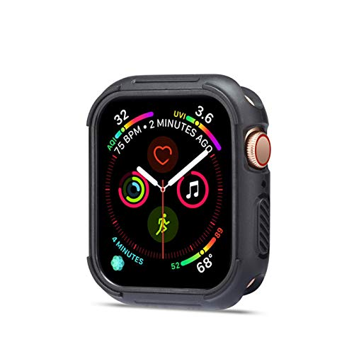 Case for Apple Watch Series 4 40mm 44mm, Soft Slim Plated TPU Shockproof Bumper Shell Anti-Scratch Flexible iWatch 4 Cover (iWatch 4 44MM, Black+Black)