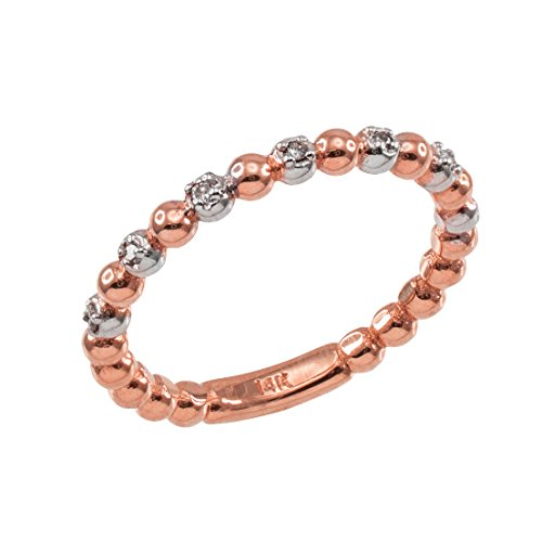 Fine 14k Two-Tone White and Rose Gold Beaded Stackable Ring with Natural Diamonds (Size 8.5)
