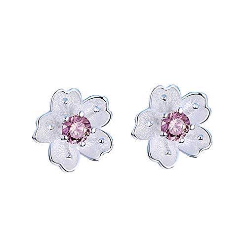 Pink Brilliant Earring - GerTong 1Pair Sakura Earrings,Cherry Blossom Ear Stud Earrings Cherry Blossom Earring Cute Brilliant Exquisite Zircon Silver Earrings for Girls Women (Pink)