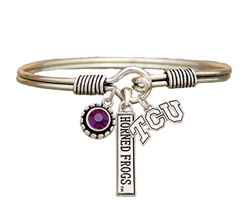 (Sports Accessory Store TCU Horned Frogs Texas Christian 3 Charm Purple Crystal Silver Bracelet Jewelry)