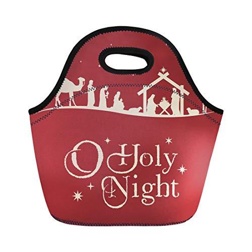 Semtomn Lunch Tote Bag Holy Christmas Nativity Scene Silhouette Family Manger Baby Christ Reusable Neoprene Insulated Thermal Outdoor Picnic Lunchbox for Men Women]()