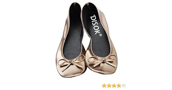 Bailarinas Plegables para Invitadas de Bodas En Bolsa De Regalo de Satén - Manoletinas, Bailarinas Plegables (BRONCE-TALLA37S): Amazon.es: Hogar