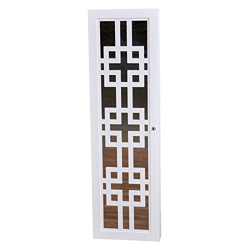 Modern Jewelry Armoire with Decorative Mirror - White by InnerSpace Luxury Products