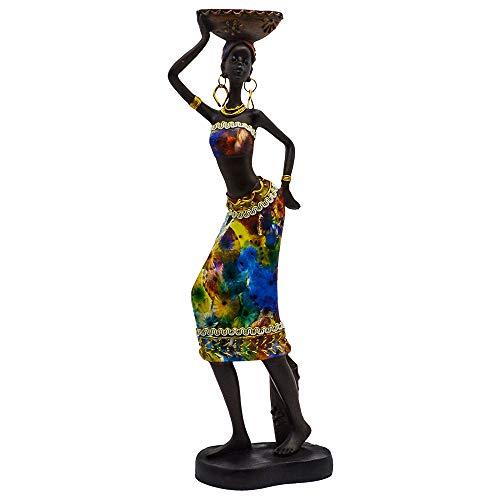 Rockin Statue African Figurine Sculpture Colorfull Dress Standing Lady Figurine Statue Decor Collectible Art Piece 13