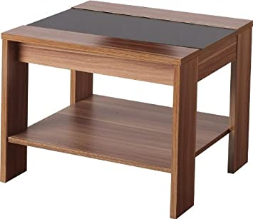 Seconique Hollywood Lamp Table   Walnut Effect/Black Gloss
