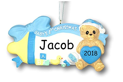 Boy Teddy Bear Ornament - Personalized 2018 Baby's First Christmas Ornament - Blue Baby Boy Bottle with Teddy Bear in Glittered Santa Hat - Free Custom Name and Year