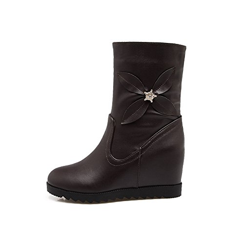 Lining Closure Rubber 1TO9 Pointed Toe Closed Kitten Womens MNS02434 Warm Heel Boots Bootie Urethane Waterproof Boots Toe Brown No vwzqxSrXw