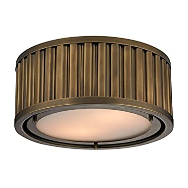 Elk Lighting 46120/2 Linden Collection 2 Light Flush Mount, Aged Brass