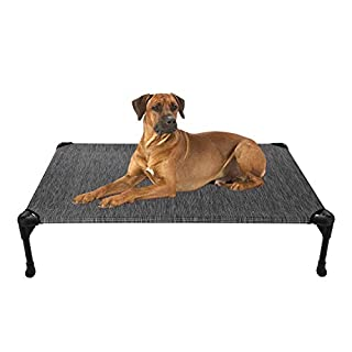 Veehoo Cooling Elevated Dog Bed, Portable Raised Pet Cot with Washable & Breathable Mesh, No-Slip Rubber Feet for Indoor & Outdoor Use, Large, Black Silver