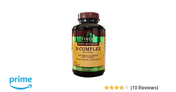 Amazon.com: Finest Nutrition B-Complex with Vitamin C, High Potency; 200 Caplets … (1): Health & Personal Care