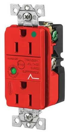 Hubbell HBL8262RSA Spike Shield Circuit Guard Hospital Grade Surge Suppression Duplex Receptacle with Light and Alarm, 125V AC, 60Hz, 15A, 2 Pole, 3 Wire, Red