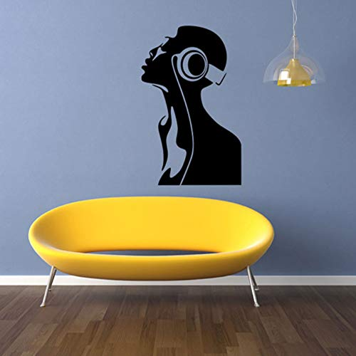 Pbldb Listen to Music Girl Removable Wall Stickers Kids Rooms Home Decor PVC Art Background Stickers 42X58Cm