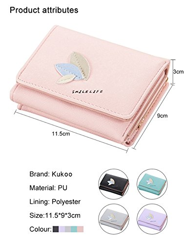 Card Kukoo Clutch Credit Button Pattern Trifold Women Holder Leather Bag Short Purple Wallet Leaf PnwqxFPrfU