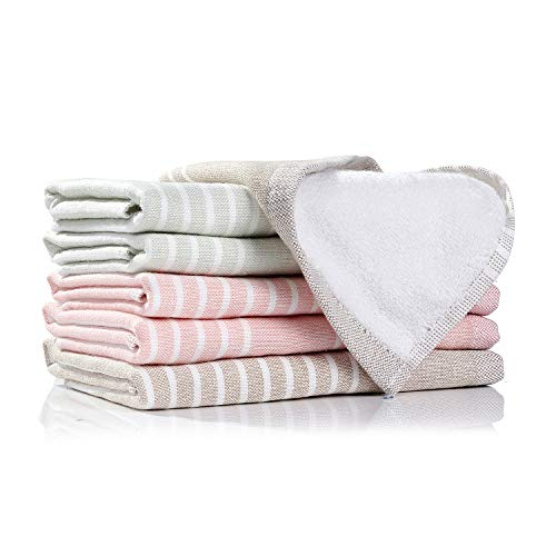 Terry Dishcloth - 100% Natural Cotton Kitchen Terry Dishcloths, Ultra Absorbent Drying Dishes Rags, Plaid Tea Towels - Great for Household Cooking Cleaning, 6pc/Set Washcloths