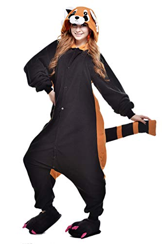 (Cokle Adult Cartoon Pajamas One Piece Sleepsuit Hooded Lounge Sleepwear Animal Costumes Raccoon)