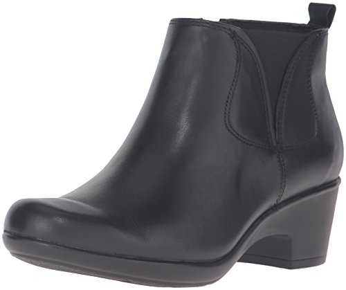 Clarks Women's Malia Charter Boot, Black Leather, 8.5 M US