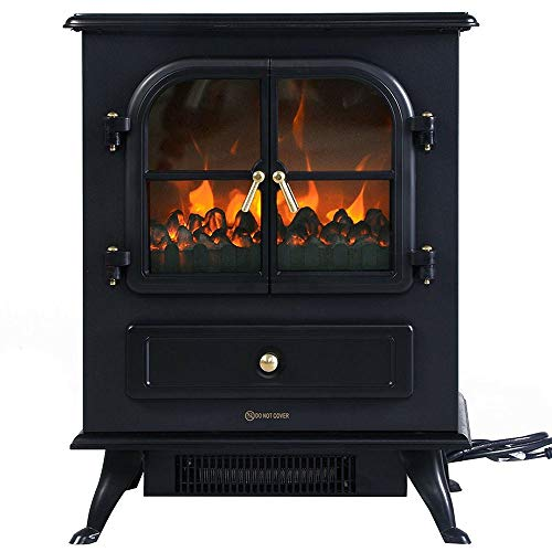 Cheap Thaweesuk Shop Black 1500W Electric Fireplace Space Heater Adjustable Realistic Flame Log Brightness 17